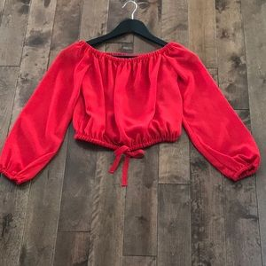 Aritzia Wilfred Eleanora Blouse- Red- Size XXS
